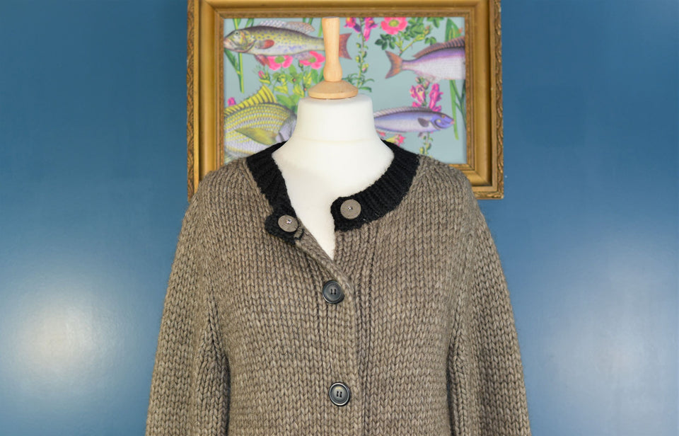 JIGSAW Women's Brown and Black Chunky Knit Woollen and Alpaca Cardigan. Size L. New With Tags.