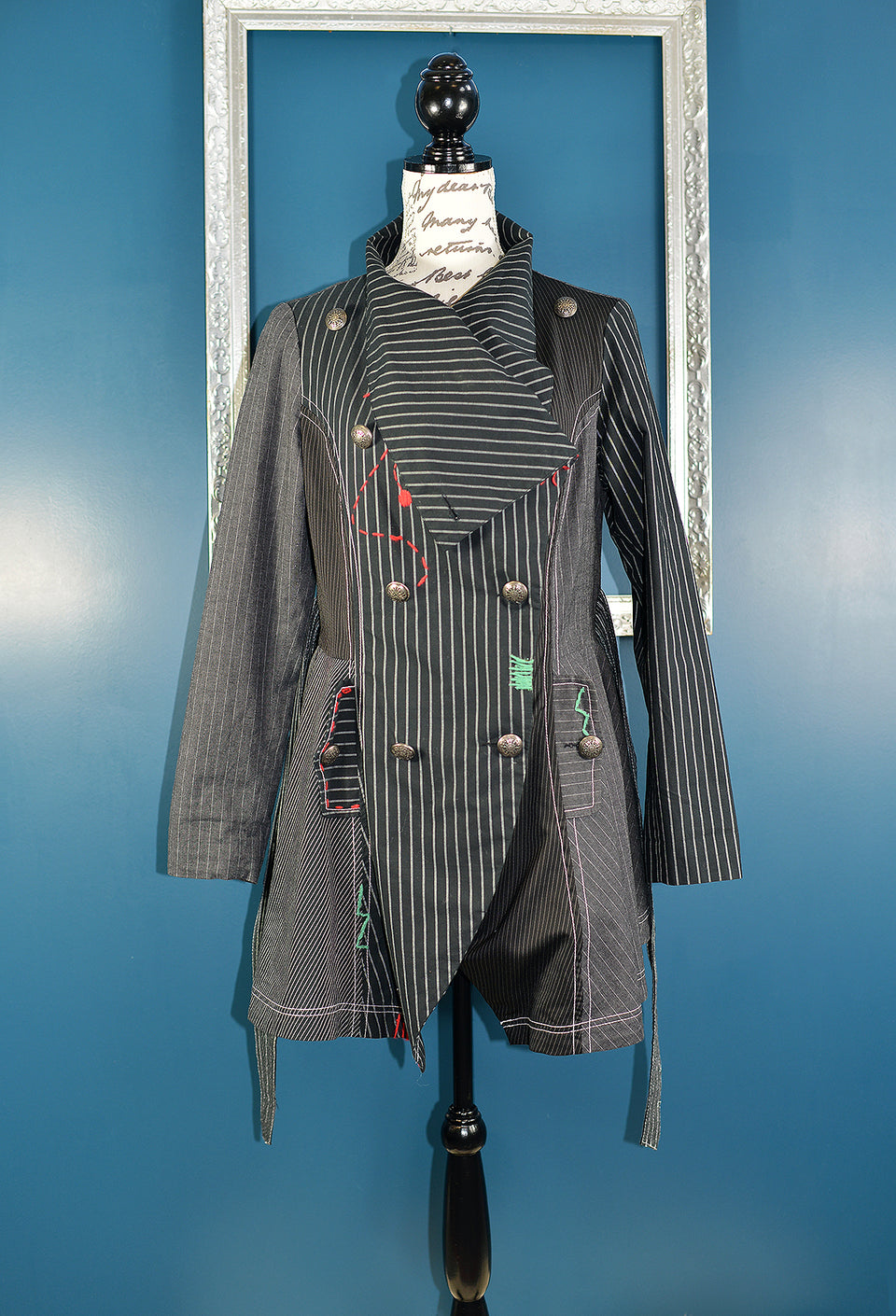 JO BROWNS Women's Black & Grey Stripes Steampunk Coat, Size 10. Pre-loved.