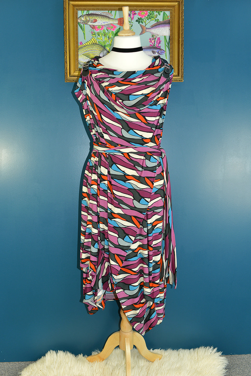 JOLABY Quirky Abstract Print Two Layer Wrap Around Dress, One Size. Pre-loved.