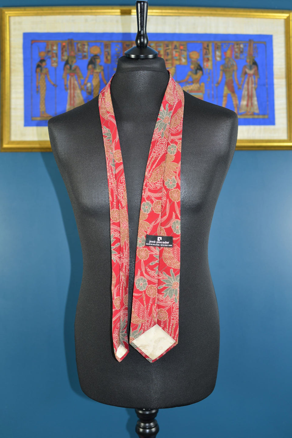 JOSE PISCADOR Red & Green Floral Silk Tie. Vintage.
