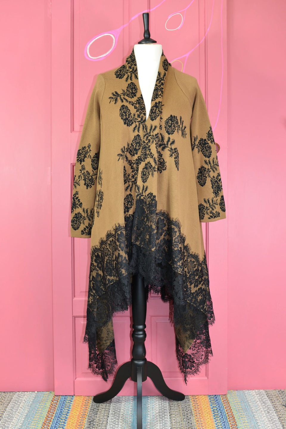 KALEIDOSCOPE Women's Long Line Cardigan Brown & Black Floral & Lace, Size M. New with tags.