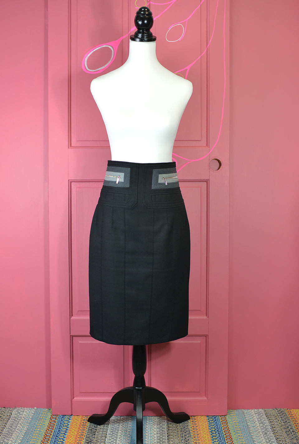KAREN MILLEN Women's Black Bodycon Skirt. Size 12. Pre-Loved.