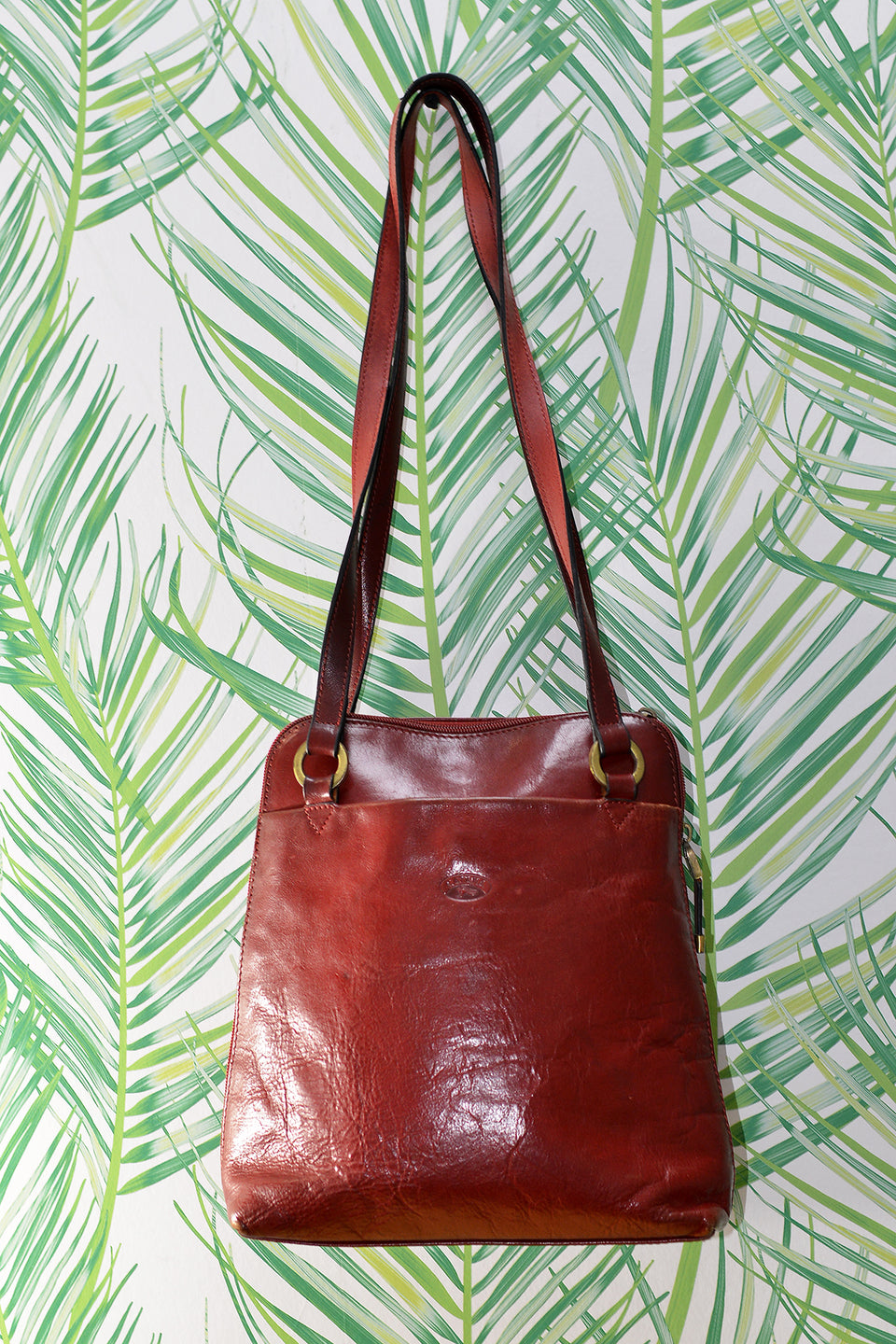 KATANA Red Leather Compact Handbag/Backpack with Pockets. Pre-loved.