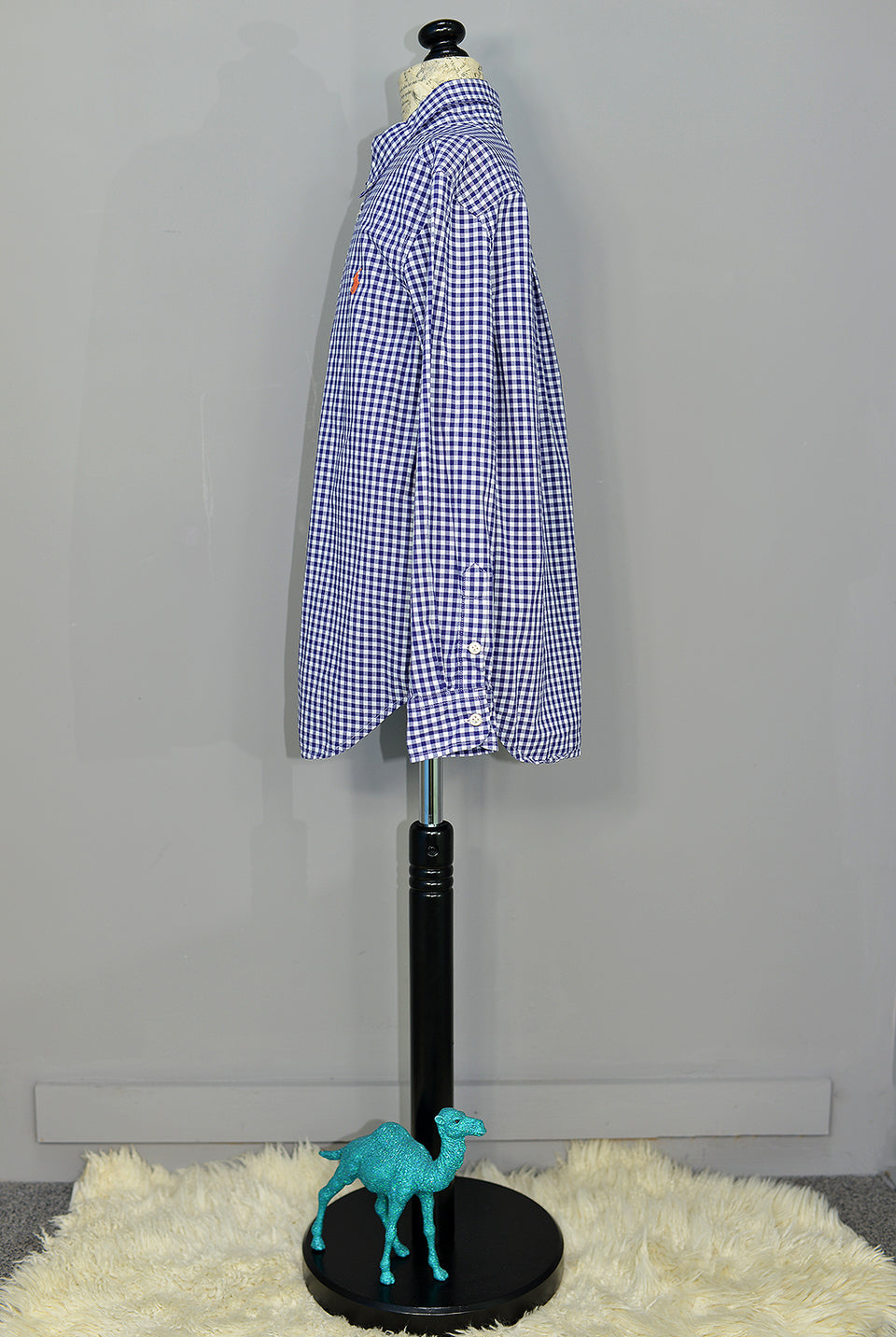 RALPH LAUREN Boys Blue & White Gingham Check Shirt, Size M (10-12). Pre-loved.