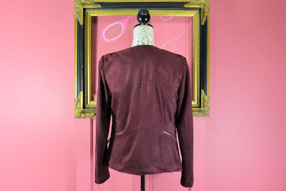 L'OLIVE VERTE Women's Faux Suede Burgundy Jacket, Size S (2). Pre-loved.