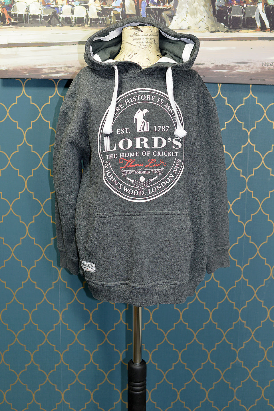LORD'S The Home of Cricket, Boys Grey Hoodie, Size 11-12 Years. Pre-loved.