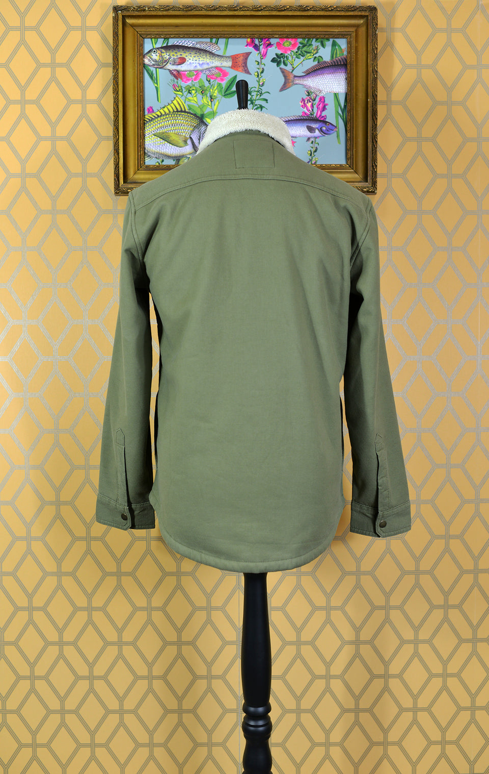 MARKS & SPENCER Men's Khaki Green Faux Fur Lined Overshirt/Jacket, Size S. Pre-loved.