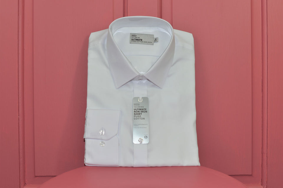 Marks & Spencer Men's Long Sleeve White Cotton Shirt, Size 16 1/2. New.