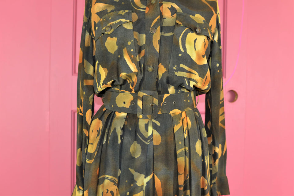 MANDY MARSH 80s Long Sleeve Midi Style Abstract Print Khaki Dress, Size 12. Vintage.