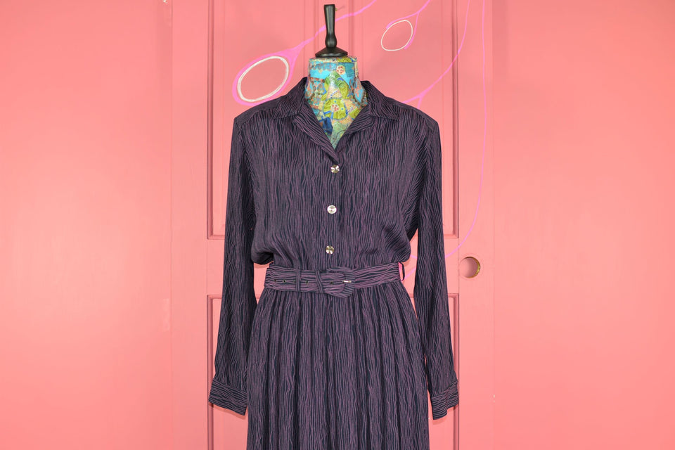 MANDY MARSH 80's Midi Style Long Sleeve Black & Purple Dress, Size 16. Pre-loved.