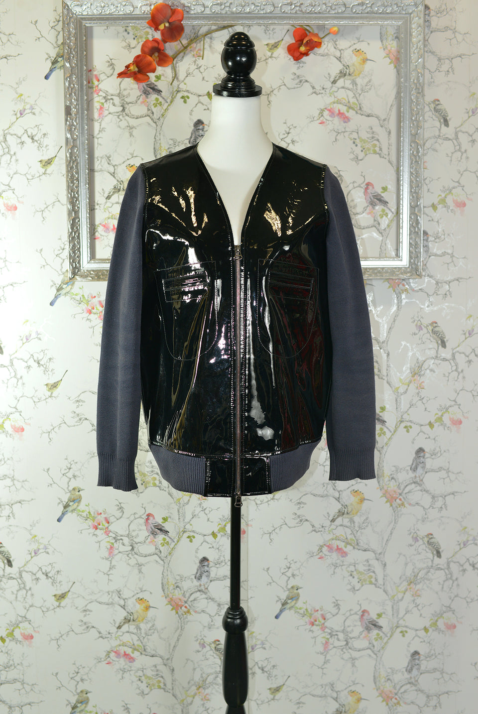 MARNI at H&M Women's Black Patent Leather and Navy Blue Cotton Sleeved Jacket. Size 14. Pre-Loved.