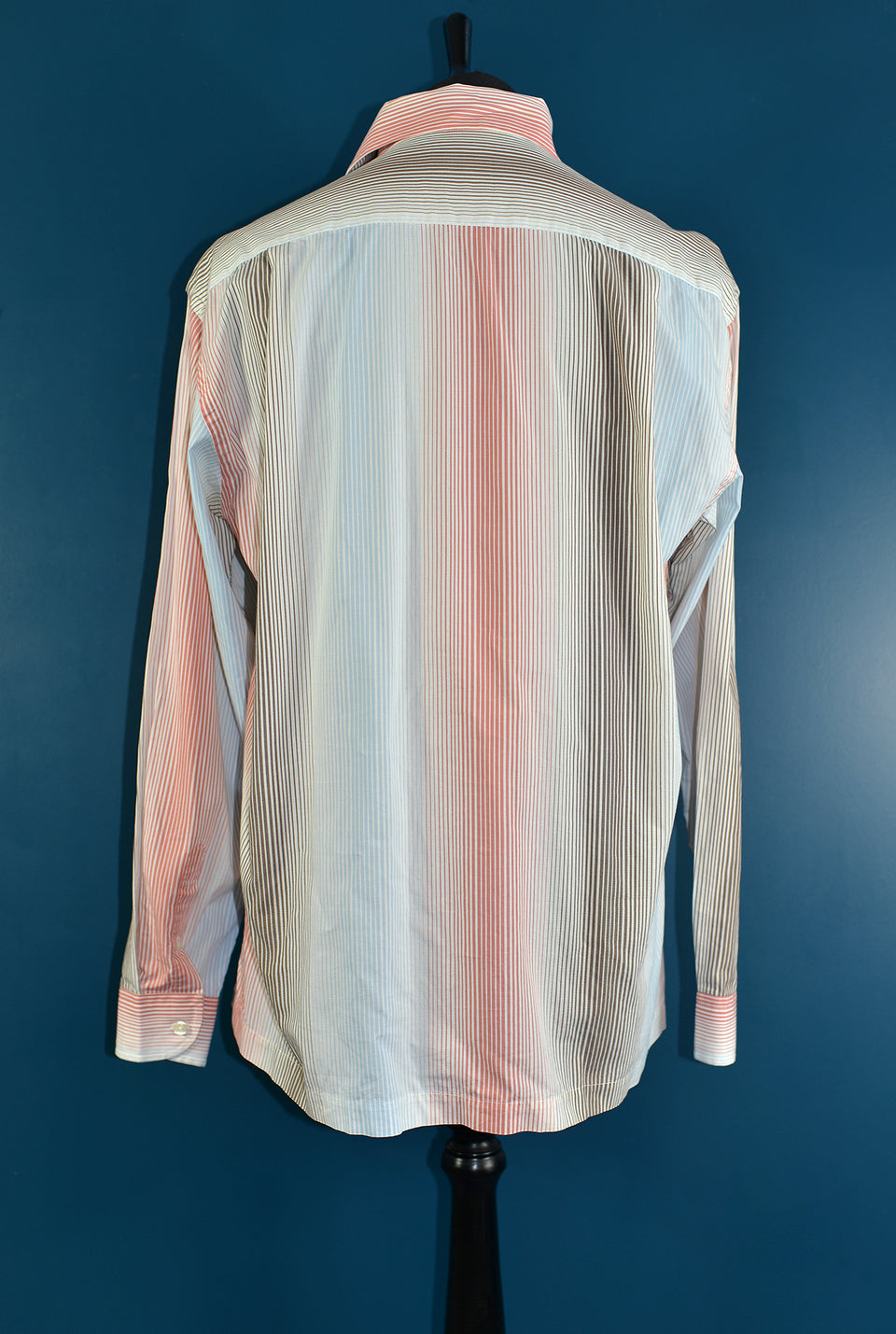 McGREGOR Men's Cotton Long Sleeve Pastel Stripy Shirt, Size L. Pre-loved.