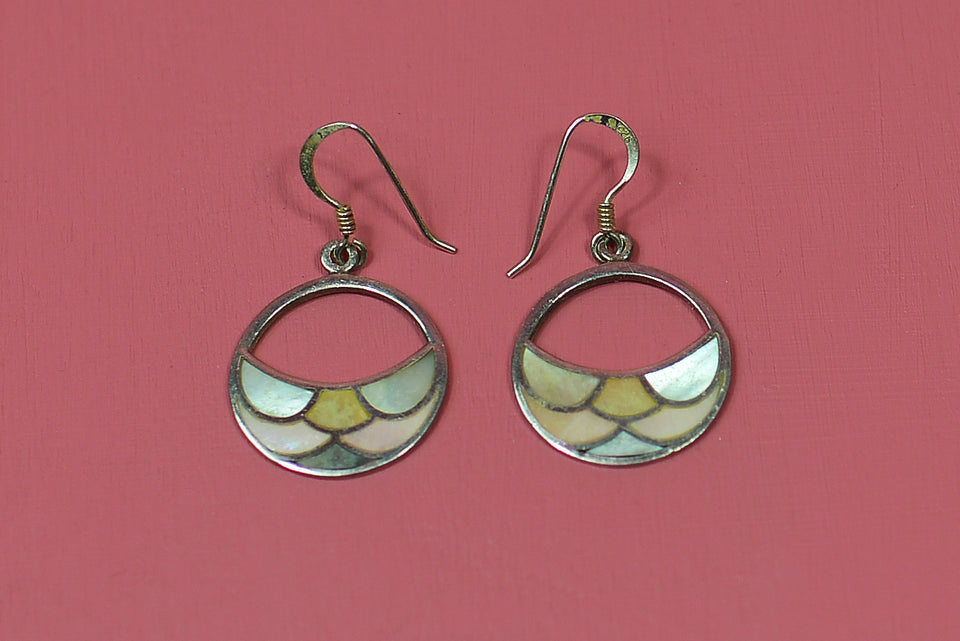 Sterling Silver Mermaid Fish Scale, Shell Inlay Earrings. Pre-loved.