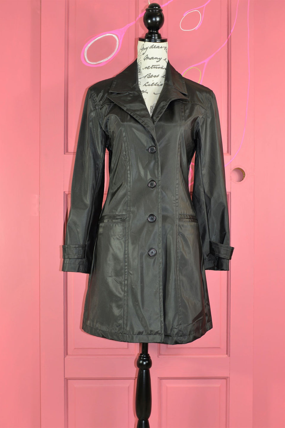 MISS SELFRIDGE Women's Black Single Breasted Coat, Size 10. Pre-loved.
