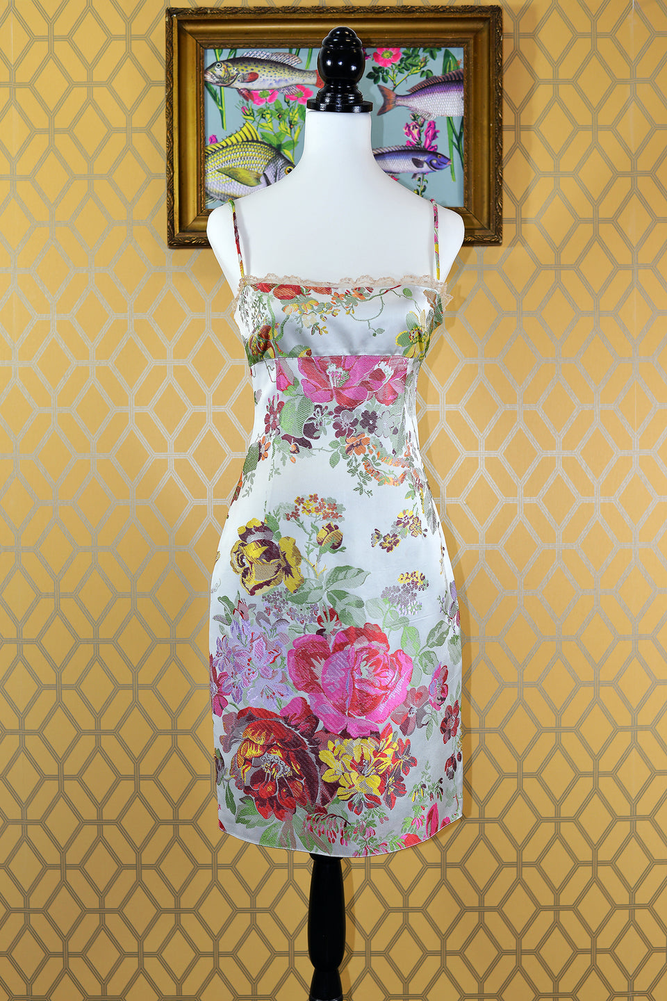 MIU MIU Floral Print Satin Tapestry Effect Strapless Dress. Size 40 (XS). Pre-loved.