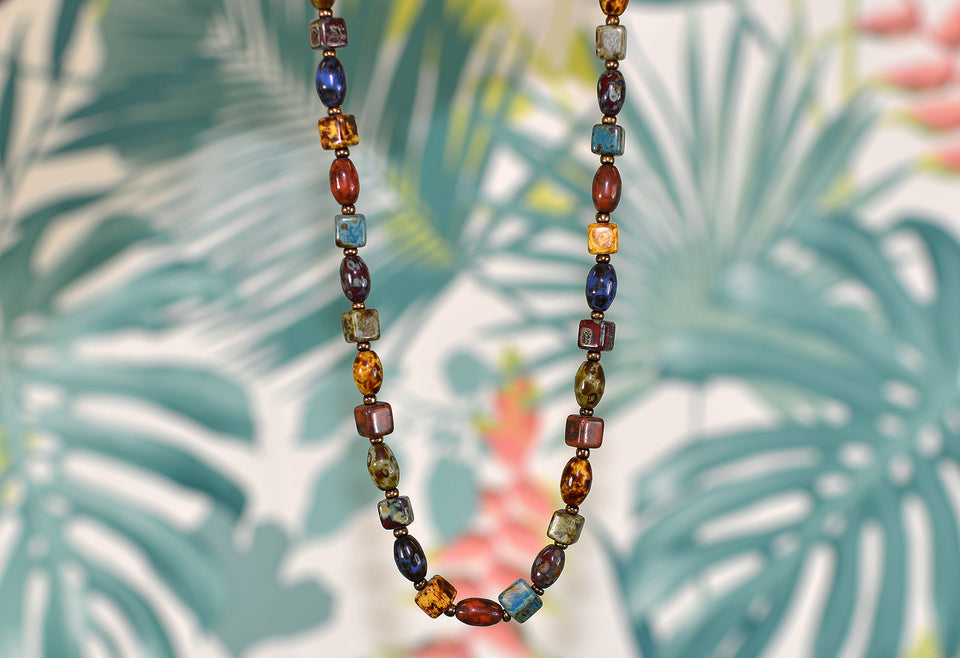 Rainbow Mixed Gemstone Necklace, Obsidian & Agate. Pre-loved