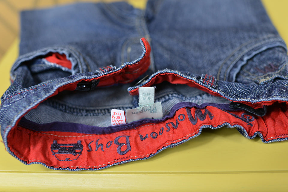 MONSOON Boys Blue Denim 'Turned Up' Jeans, Size 3-4. Pre-loved.