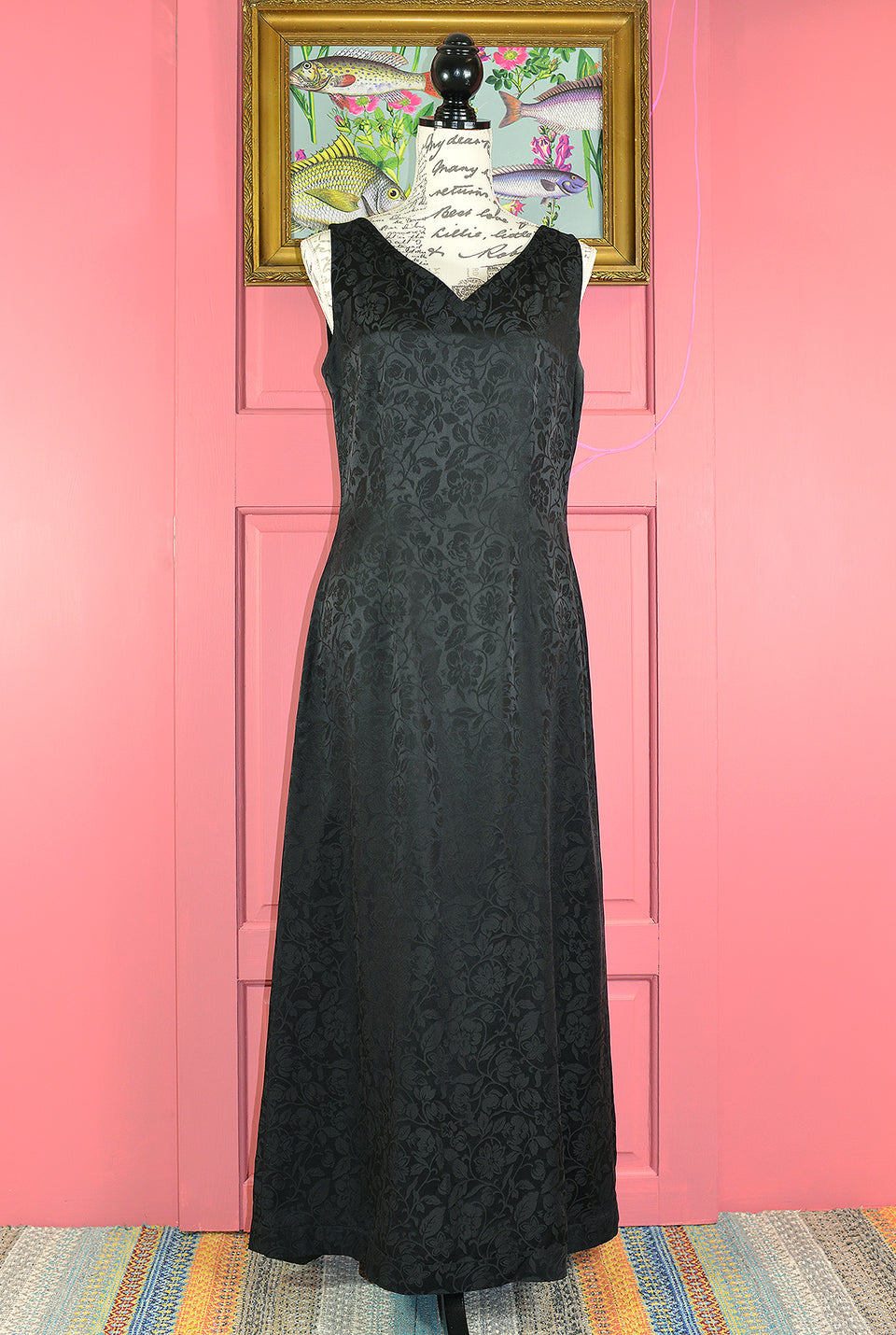 MONSOON Sleeveless Black Jacquard Silk Full Length Dress, Size 12. Pre-loved.