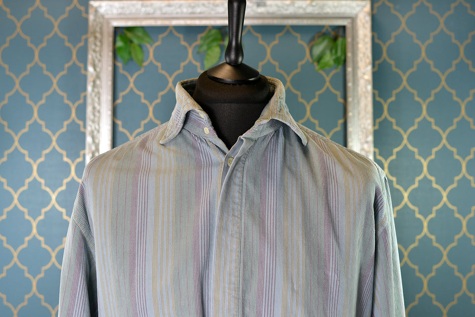 MULBERRY Men's Blue, Green and Purple Striped Corduroy Shirt. Size 17 1/2 (44). Vintage.