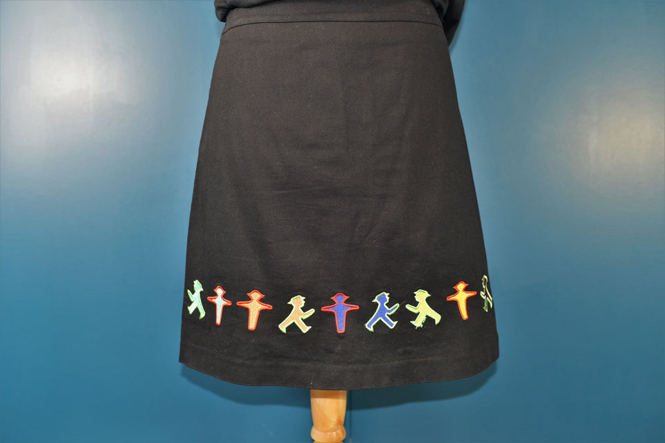 NICOLA QUILTER Women's Black Skirt with Quirky People Pattern Embroidery. Size 12-14. Pre-Loved.