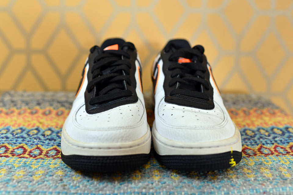 NIKE Air Force 1 Trainers, White&Black&Orange, Size 4.5/5Y (37.5). Pre-loved.