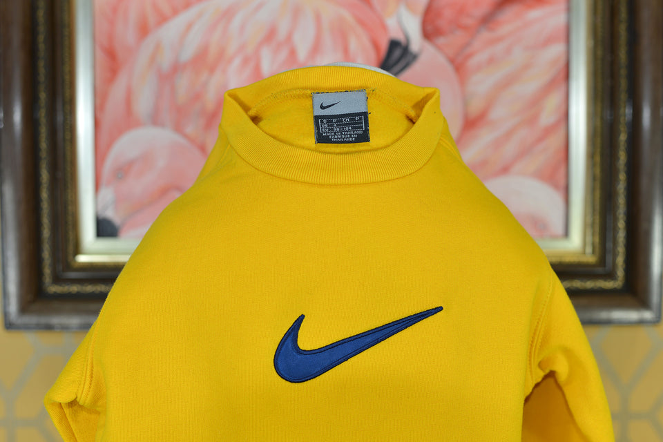 NIKE Girls' Mustard Yellow Sports Sweater With Navy Blue Tick, Size 3-4 Years. Pre-loved.