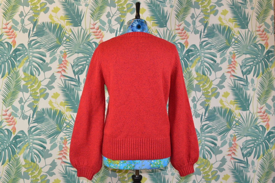 Women's Red Long Sleeved Jumper by NÜMPH, Size L. Pre-loved.