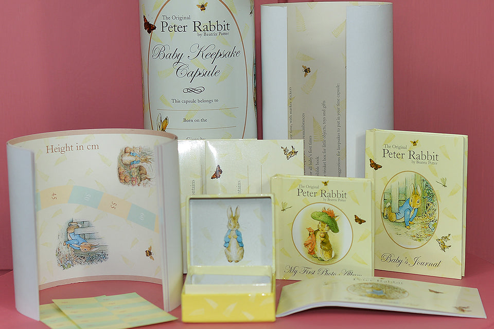 Beatrix Potter PETER RABBIT Baby Keepsake Tin Capsule Gift.