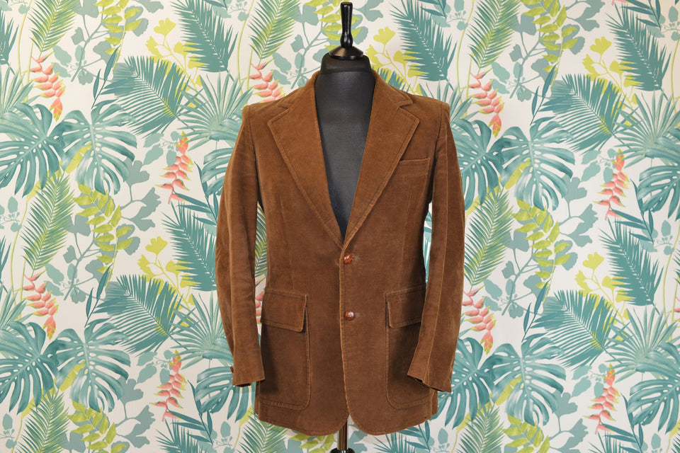 JIM PALUZZI Men's Brown Corduroy Jacket, Size 38 Reg (Small). Vintage.