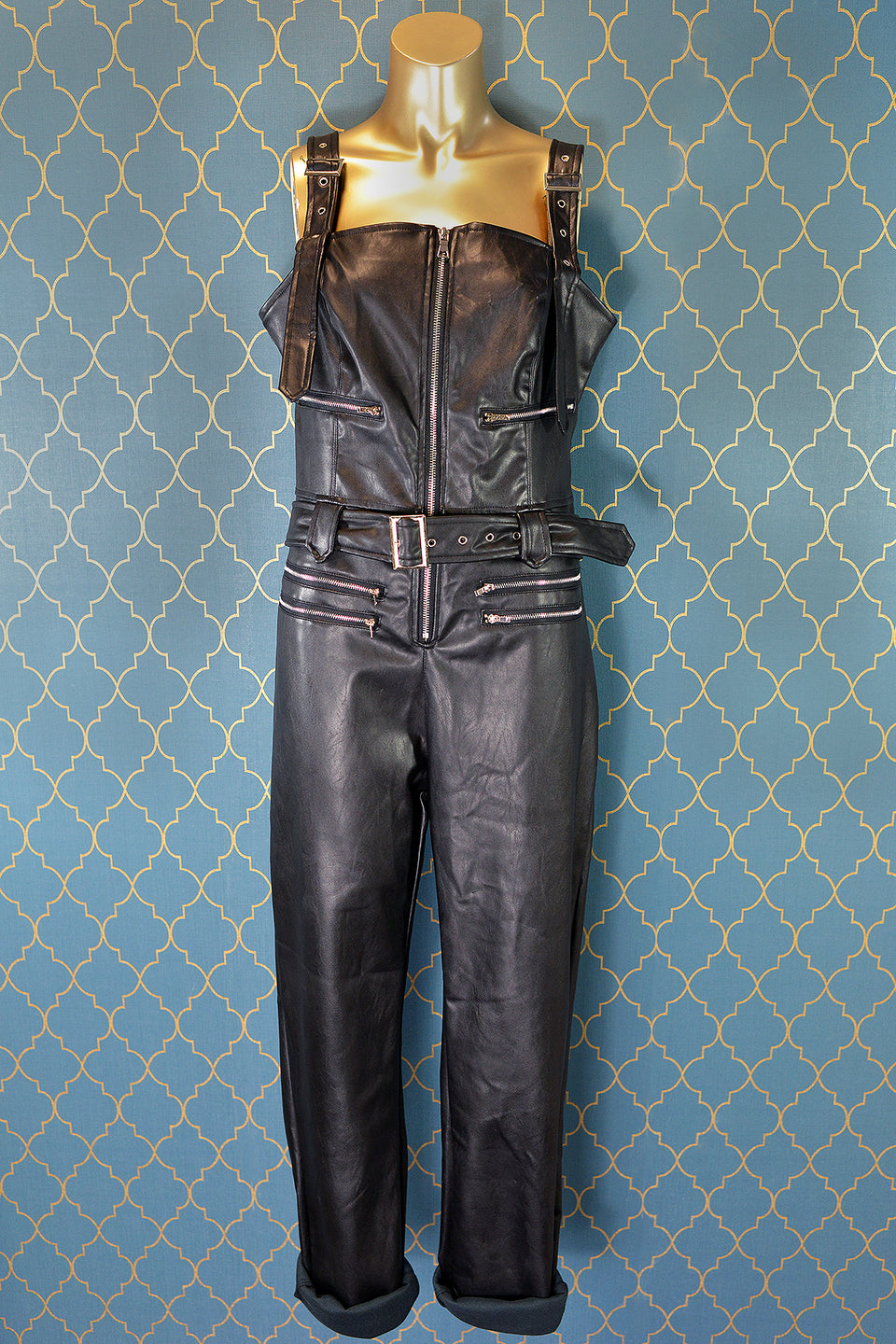 PRETTY LITTE THING Faux Black Leather Dungarees Jumpsuit, Size 8 (36). New with tags.
