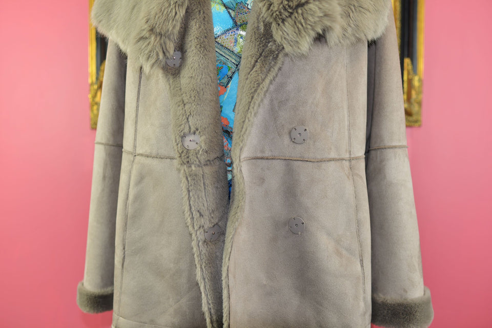 PURE Collection Women's Faux Suede and Fur Coat, Size 16. Pre-loved.