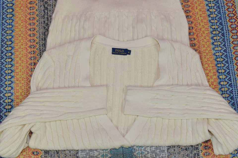 POLO Ralps Lauren Women's Cream Cardigan, Size XL. Pre-loved.
