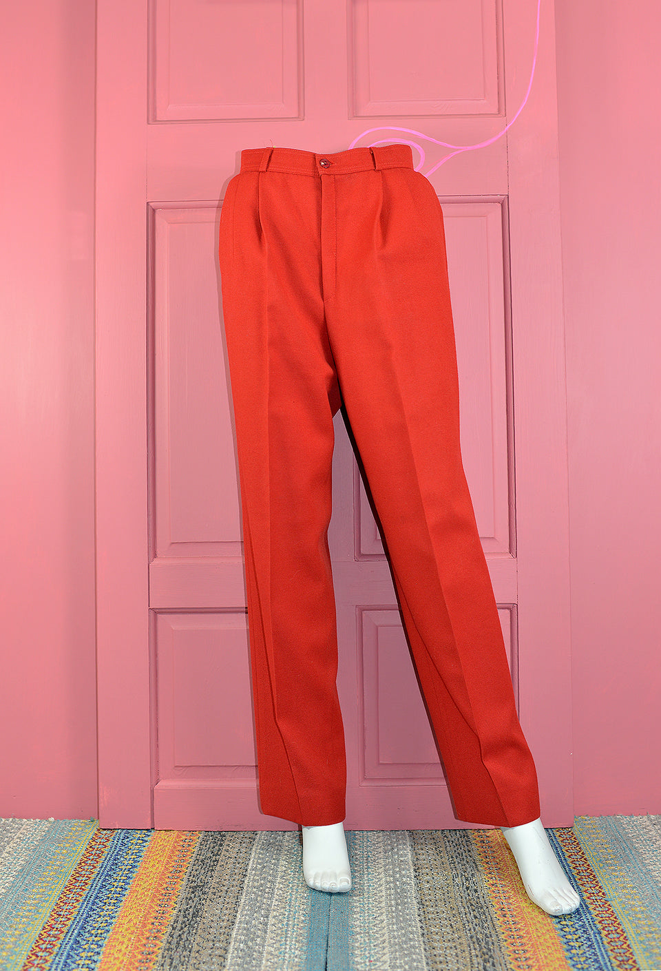 CANDA Women's Red Wool Blend Trousers, Size S. Vintage.