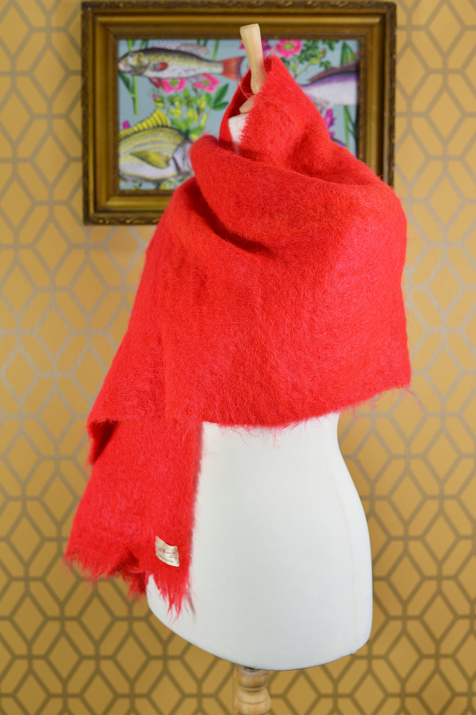 All Mohair Pile, Large Red Wool Scarf, 48x90cm. Made in Scotland. Pre-loved.