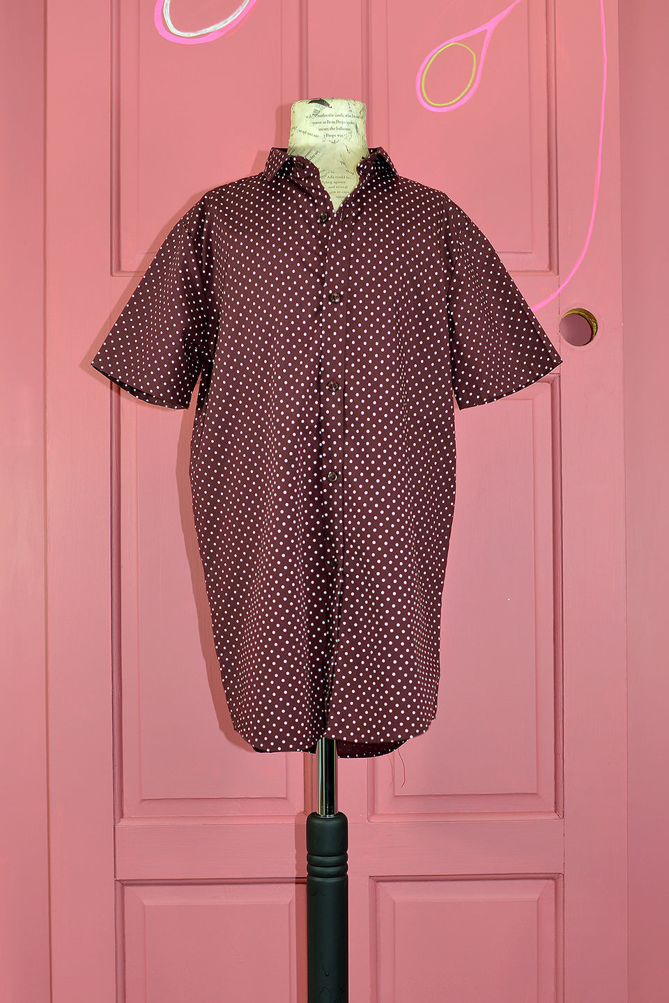 RIVER ISLAND Boys Burgundy & White Polka Dot Shirt, Size 11 Years. Pre-loved.