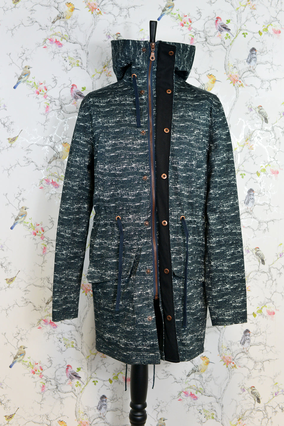 RIVER ISLAND Men's Speckled Camouflage Hooded Parka Coat, Size M. Pre-loved.