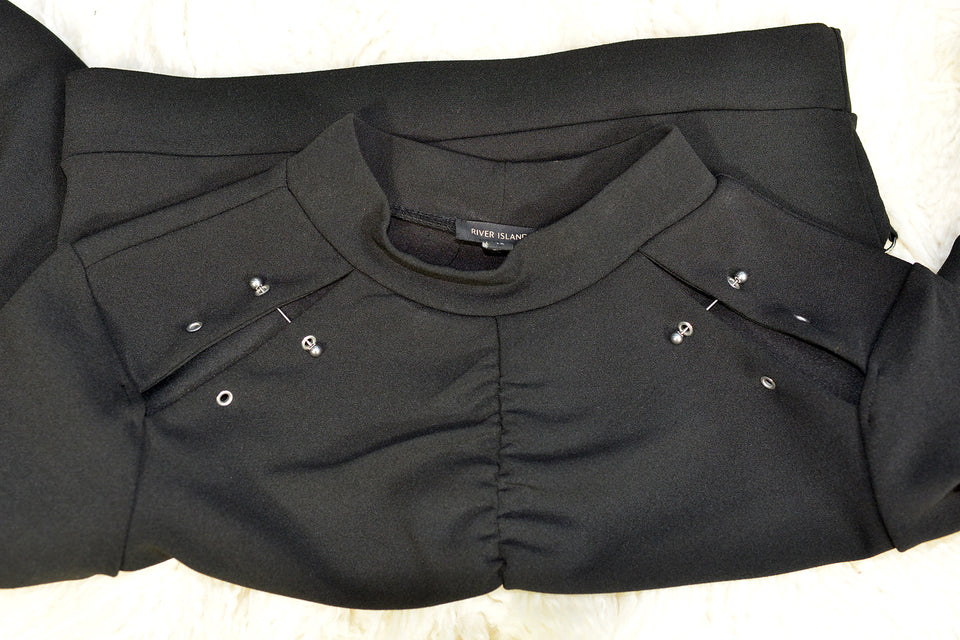 RIVER ISLAND Women's Black Punk Chique Top, Size S. Pre-loved.