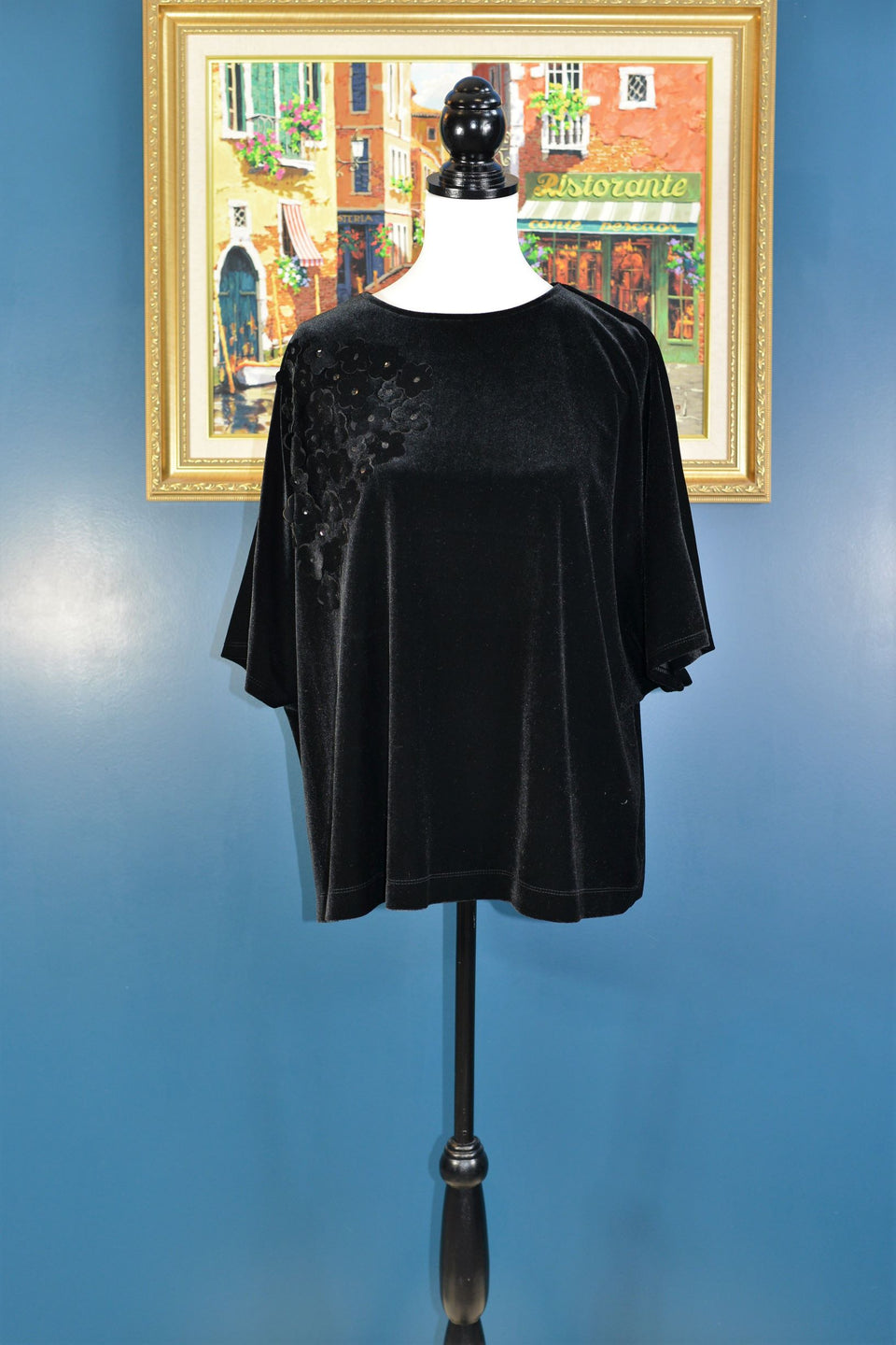 ROCHA John Rocha Women's Black Velour Top with Floral Motif, Size 10. Pre-loved.