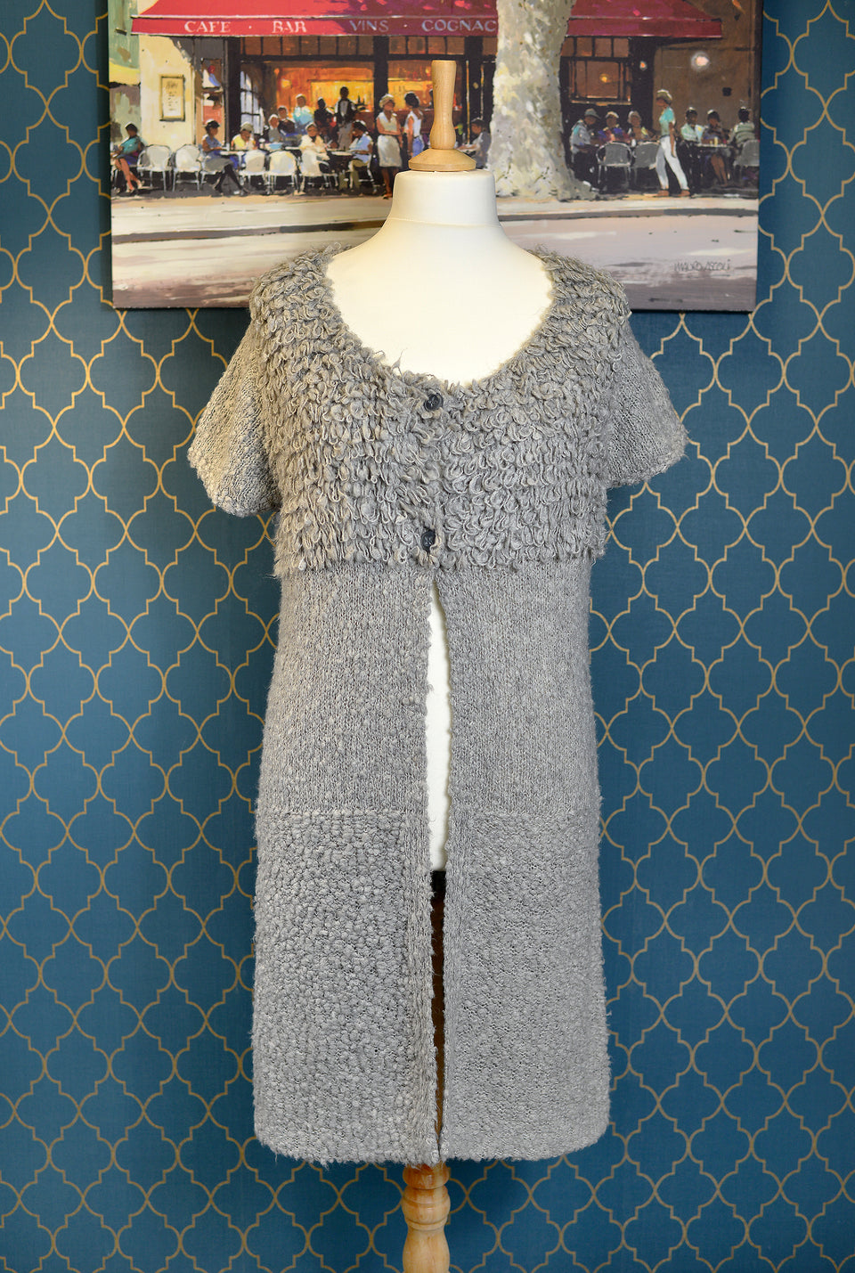SANDWICH Women's Grey Long Cardigan Dress. Size L. Pre-loved.