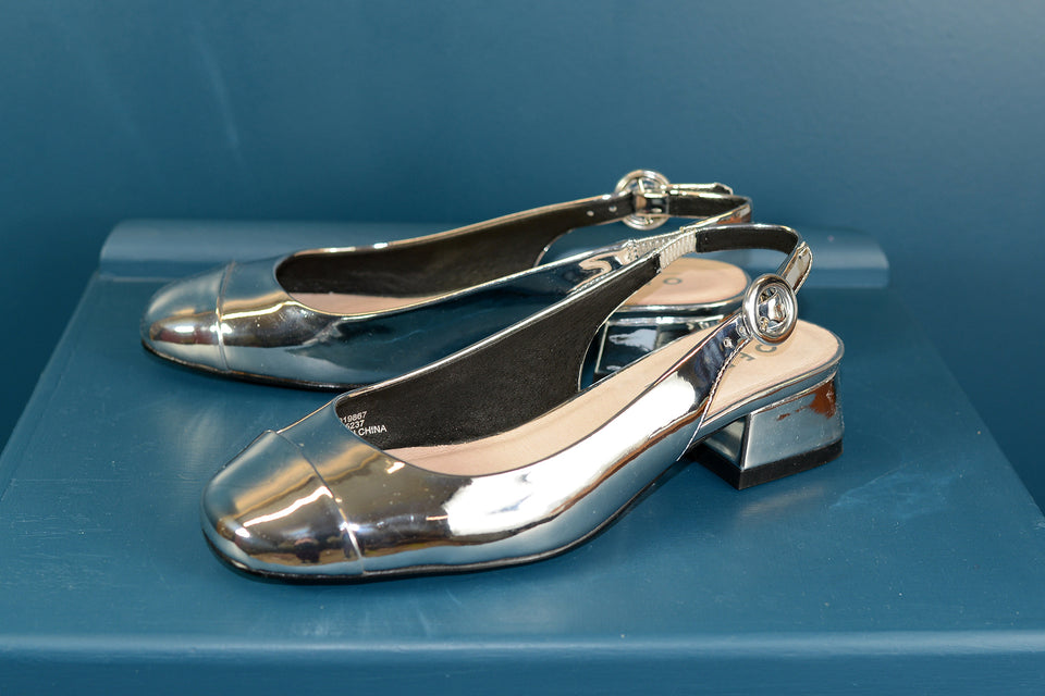 OFFICE Silver Patent Sling Backs, Size 5 (38). New.