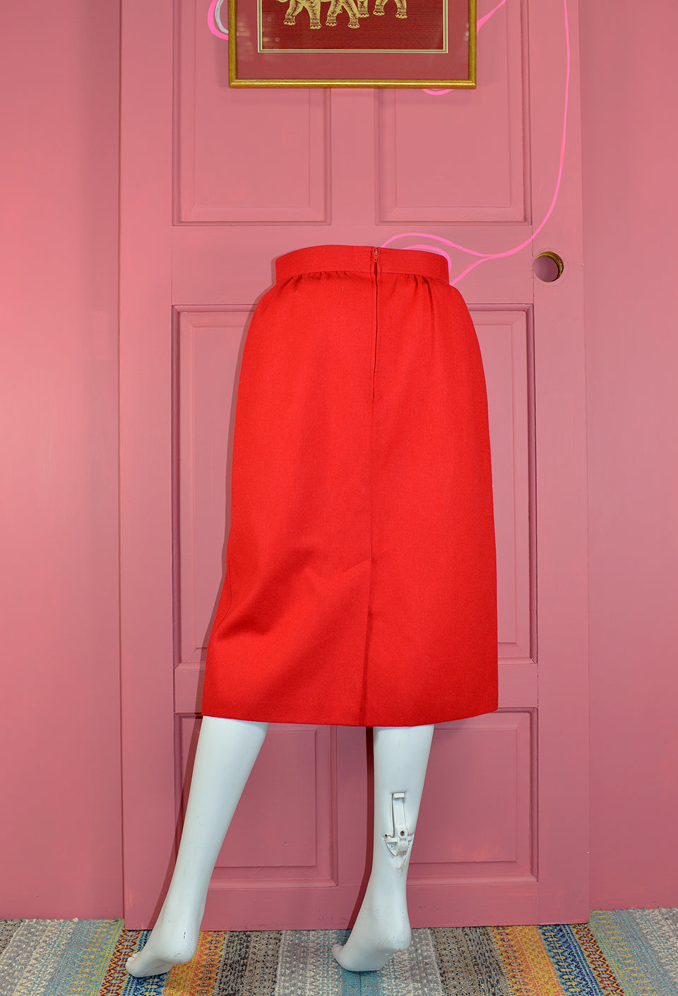 ST MICHAEL Red Pure Wool Midi Skirt with Pockets, Size S. Vintage.