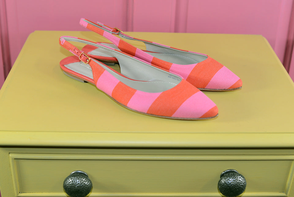 BODEN Stripy Slink Back Flats, Size 38.5. New.