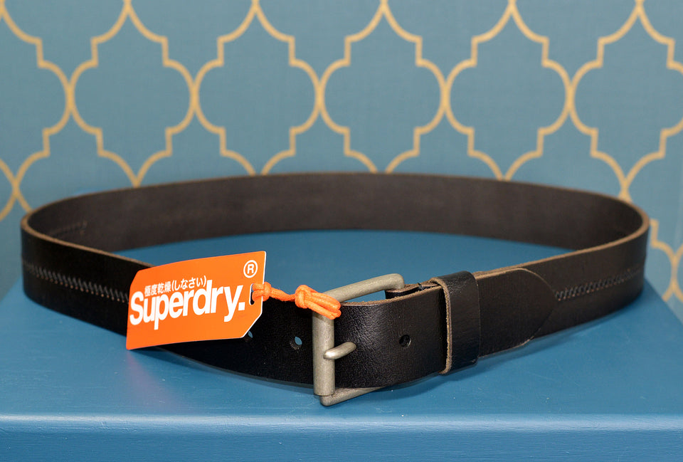 SUPERDRY Black Leather Profile Belt. New with tags.