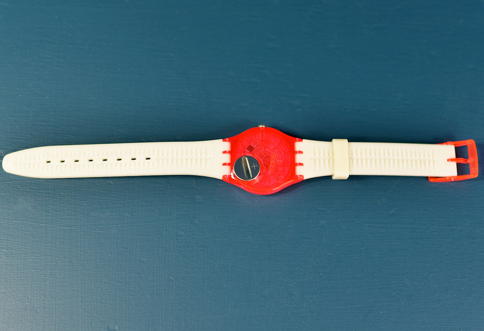 SWATCH Neon Pink Zebra Strap Watch with New Battery. Pre-loved.
