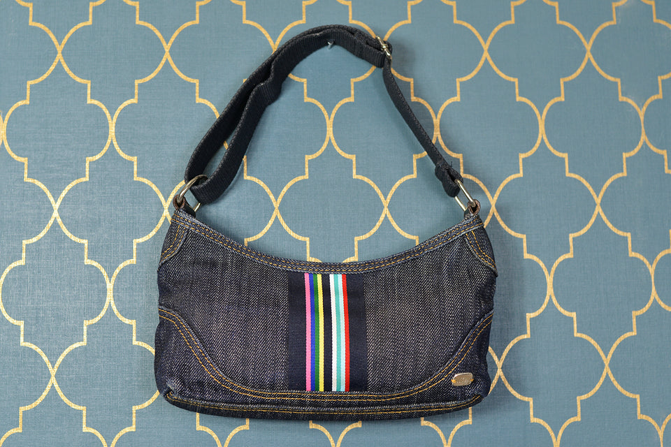 TED BAKER Mini Compact Denim Shoulder Bag with Rainbow Detail. Pre-loved.
