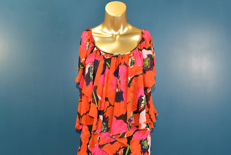 TED BAKER Floral Orange & Pink Knee Length Dress, Size 1 UK 8. Pre-loved.