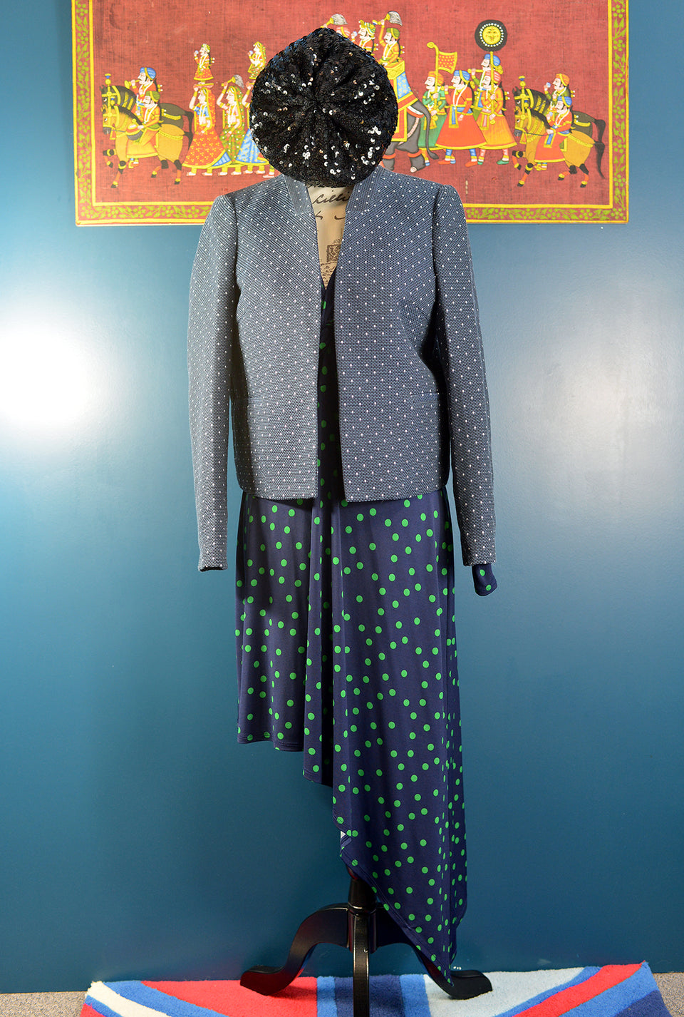 TOPSHOP Women's Navy Polka Dot Jacket, Size 12. New with Tags.