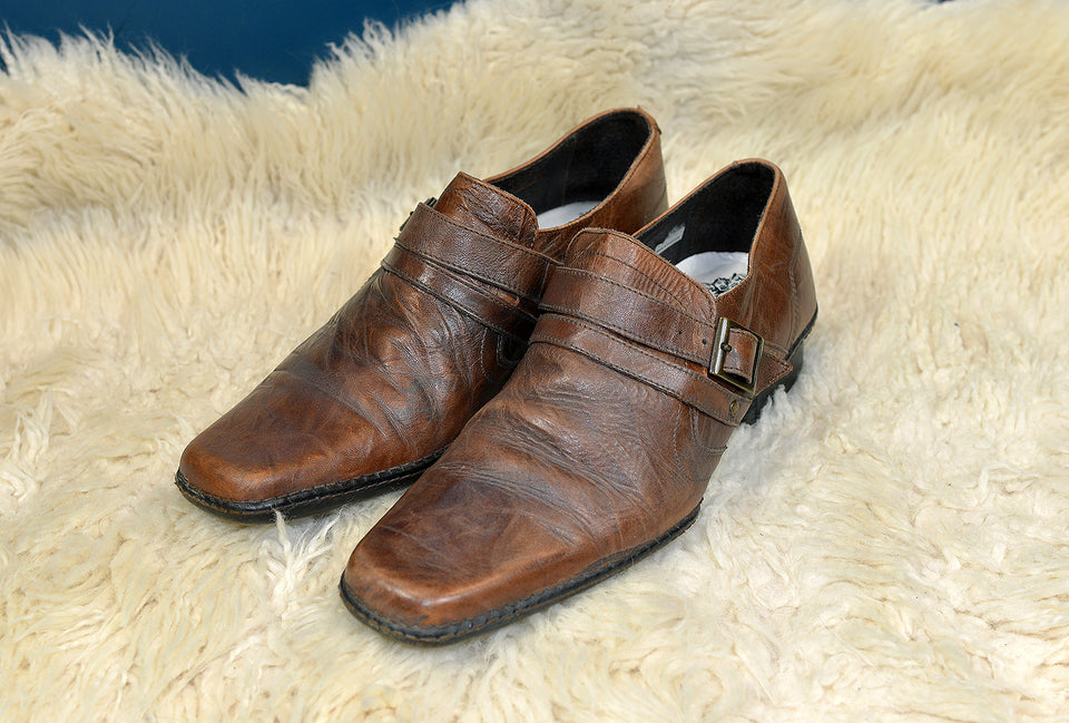 URBANE Men's Monk Strap Brown Leather Shoes, Size 9. Pre-loved.