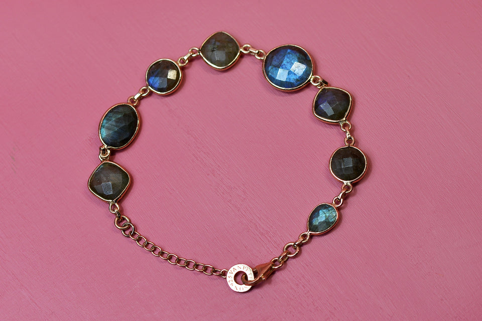 VAN PETERSON 925 Sterling Silver Labradorite Gemstone Bracelet, Rose Gold Plated. Pre-loved.