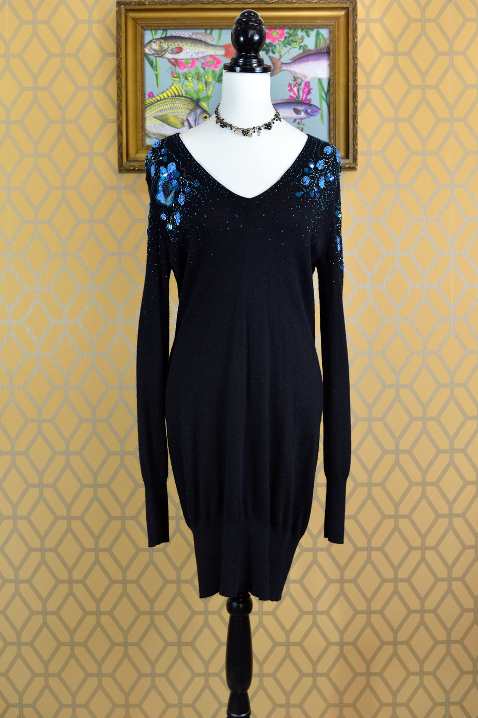 WHISTLES Women's Black Jumper Dress with Blue Floral Beading, Size 6/8. Pre-loved.